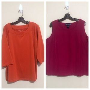 2 Susan Graver Shirts 1X Orange and Pink